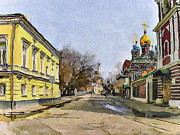 Old Town Digital Art Posters - Moscow Old Streets 8 Poster by Yury Malkov