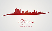 Moscow Skyline Art - Moscow skyline in red by Pablo Romero