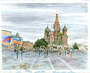 Russia Drawings - Moscow then and now by Mark Mahoney