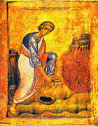 Orthodox Icons Paintings - Moses and the burning bush by George Rossidis