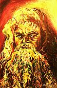 Old Man With Beard Prints - Moses At The Burning Bush Print by Carole Spandau