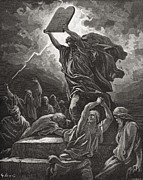 Religious Drawings Framed Prints - Moses Breaking the Tablets of the Law Framed Print by Gustave Dore