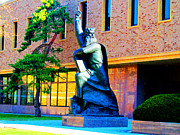 Campus Sculptures Prints - Moses Statue at The Main Library Print by Tina M Wenger