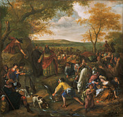 Steen Framed Prints - Moses Striking The Rock Framed Print by Jan Steen