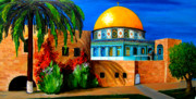 Jerusalem Painting Posters - Mosque - Dome of the rock Poster by Patricia Awapara