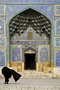Hijab Art Metal Prints - Mosque Door In Isfahan Esfahan Iran Metal Print by Jacek Malipan