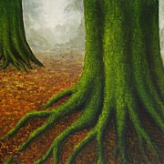 Forest Floor Paintings - Mossy Trees by Anna Bronwyn Foley