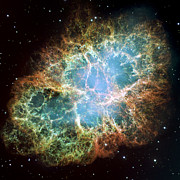 Modern Abstract Outer Space Framed Prints - Most detailed image of the Crab Nebula Framed Print by Adam Romanowicz