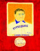 Slugger Painting Posters - Most Expensive Baseball Card Honus Wagner T206 2 Poster by Richard W Linford