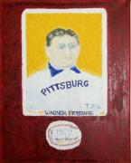 Major League Baseball Painting Prints - Most Expensive Card T206 Honus Wagner and Signed Baseball Print by Richard W Linford