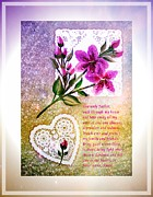 Doilies Prints - Most Powerful Prayer with Doilies and Lilies Print by Barbara Griffin