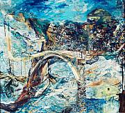 Most Painting Framed Prints - Mostar Bridge Framed Print by Jelena Ignjatovic