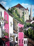 Old Town Pastels Framed Prints - Mostar Old Town Framed Print by Sibella Talic