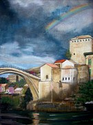 Most Pastels Metal Prints - Mostar Stari Most Metal Print by Sibella Talic