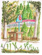 Urban  Drawings Paintings - Motel 6 in Mammoth Lakes - California by Carlos G Groppa