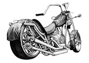 Harley Davidson Drawings - Motercycle drawing art sketch - 5 by Kim Wang