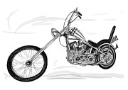 Harley Davidson Drawings - Motercycle  drawing art sketch - 6 by Kim Wang