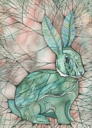 Blue Mushrooms Art - Moth Bunny by Tamara Phillips