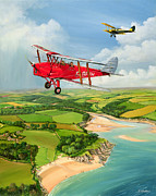 Biplane Paintings - Mothecombe Moths by Richard Wheatland