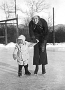 Skates Prints - Mother & Daughter Ice Skating Print by Underwood Archives