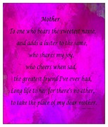 Cheers Mixed Media Prints - Mother - Magenta Watercolor Print by Barbara Griffin