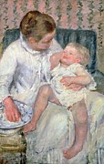 Child Posters Prints - Mother About to Wash her Sleepy Child Print by Mary Stevenson Cassatt