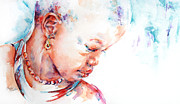 Watercolour Portrait Posters - Mother Africa Poster by Stephie Butler