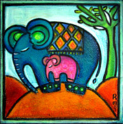 Baobab Paintings - Mother and baby elephant One footstep for two by Rosemary Lim