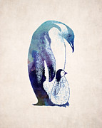 Animal Drawings Posters - Mother and Baby Penguin Poster by World Art Prints And Designs