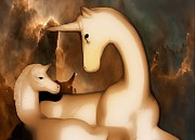 Extinct And Mythical Digital Art Originals - Mother and Baby Unicorns by Isabel Antonelli