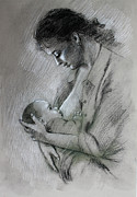 Mother And Baby Print by Viola El