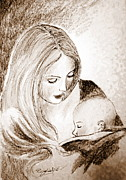 Mother And Child Drawings - Mother and child 2 by Roberto Gagliardi