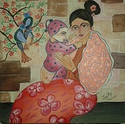Lap Painting Originals - Mother and Child 3 by Jagjeet Kaur