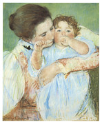 Child Pastels Posters - Mother and Child against a Green Background Poster by Mary Cassatt
