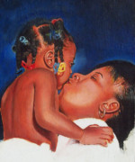 Family Love Paintings - Mother and child by Cheryl Riley