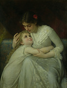 Embracing Framed Prints - Mother and Child Framed Print by Emile Munier