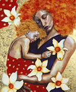 Holding Flower Prints - Mother and Child Print by Hilary Dunne
