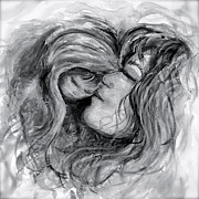 Baby Jesus Mixed Media Prints - Mother and Child in Black and White Print by Nadine Rippelmeyer