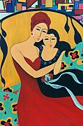 Family Love Paintings - Mother and Child by Jacquelinemari Limoges