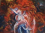 Abstract Mother And Child Paintings - Mother and Child by Jessica Bassett