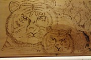 Mother Pyrography Posters - Mother and Child Poster by JJ Oosthuizen