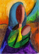 Madonna Pastels Prints - Mother and Child Print by Karen  Ferrand Carroll