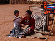 Native American Rug Prints - Mother and Child Print by Keith Stokes