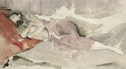 On Paper Paintings - Mother and Child on a Couch by James Abbott McNeill Whistler