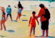 Abstract Mother And Child Paintings - Mother and Child on Sunny Beach by Thomas Bertram POOLE