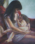 Family Love Paintings - Mother and Child by Quin Sweetman
