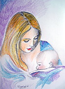 Mother And Child Drawings - Mother and child by Roberto Gagliardi