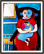 Amedeo Framed Prints - Mother and Child  Framed Print by Robina Anstey