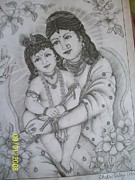 Mother Of God Drawings - Mother And Child by Shalini Dubey