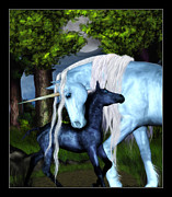 Unicorn Posters - Mother and Child Poster by Stacie Ball